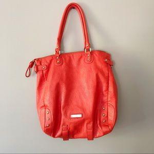 Steve Madden Leather Orange Large Tote Bag